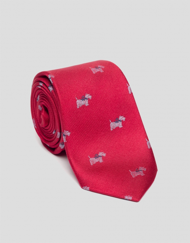 Cravate en soie rouge avec fox terrier en blanc