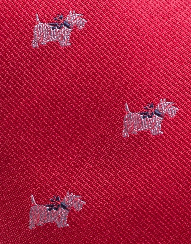 Corbata seda roja con terrier blanco