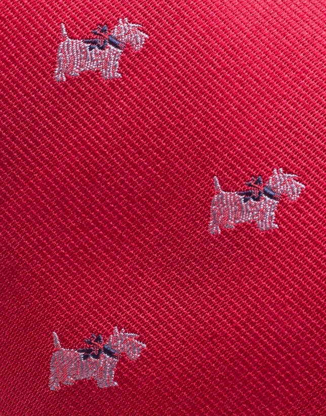 Red silk tie with white terrier design