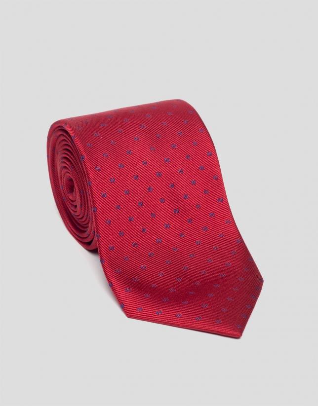 Corbata seda roja con jacquard azulón