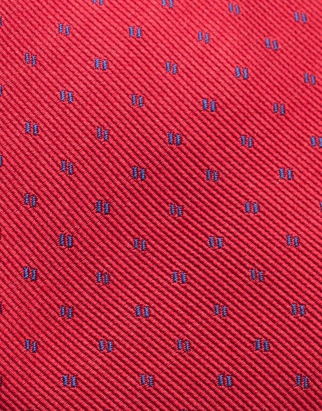 Red silk tie with blue jacquard