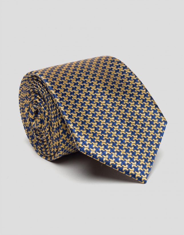 Deep blue and yellow houndstooth silk tie