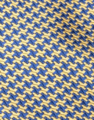 Corbata seda pata de gallo azulón/amarillo