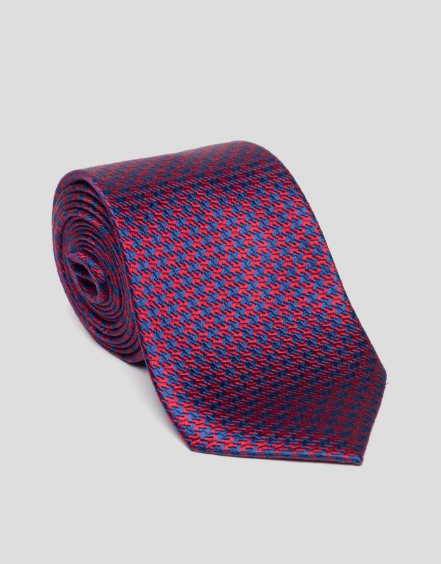 Corbata seda pata de gallo azulón/rojo