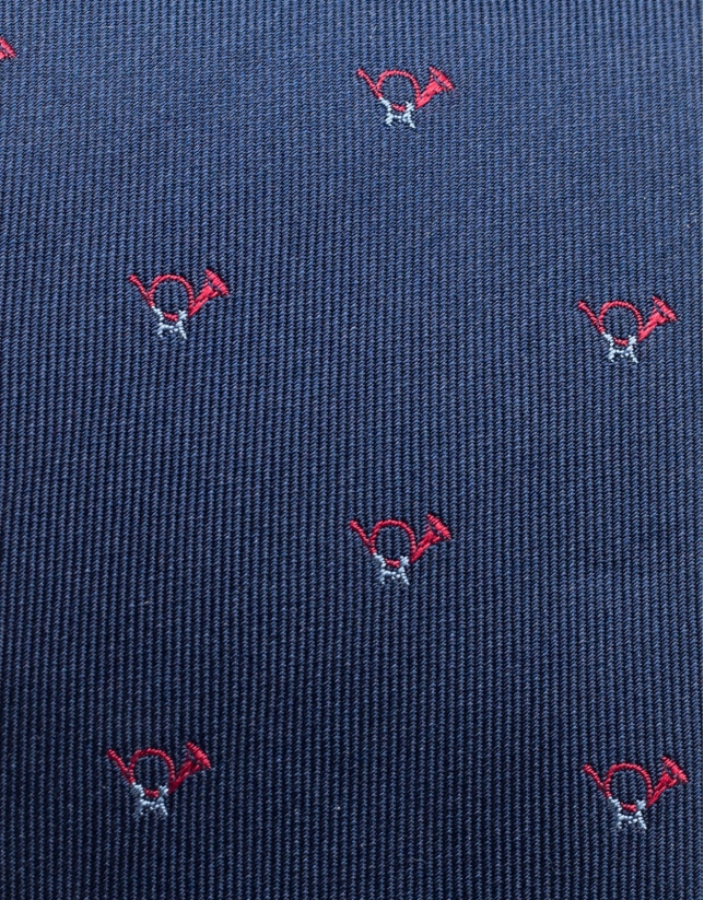 Silk and jacquard tie with bugles