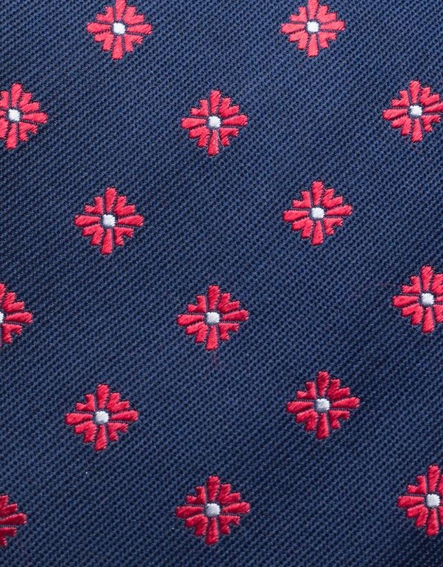 Cravate en soie marine à jacquard de fleurs rouges