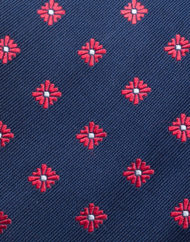 Navy blue silk tie with red jacquard flowers