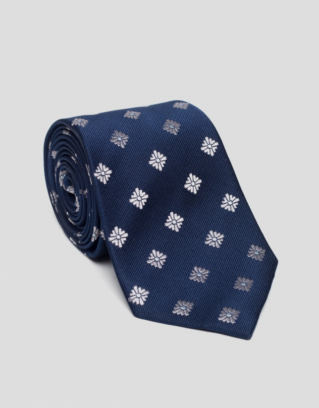 Blue silk tie with gray jacquard flowers
