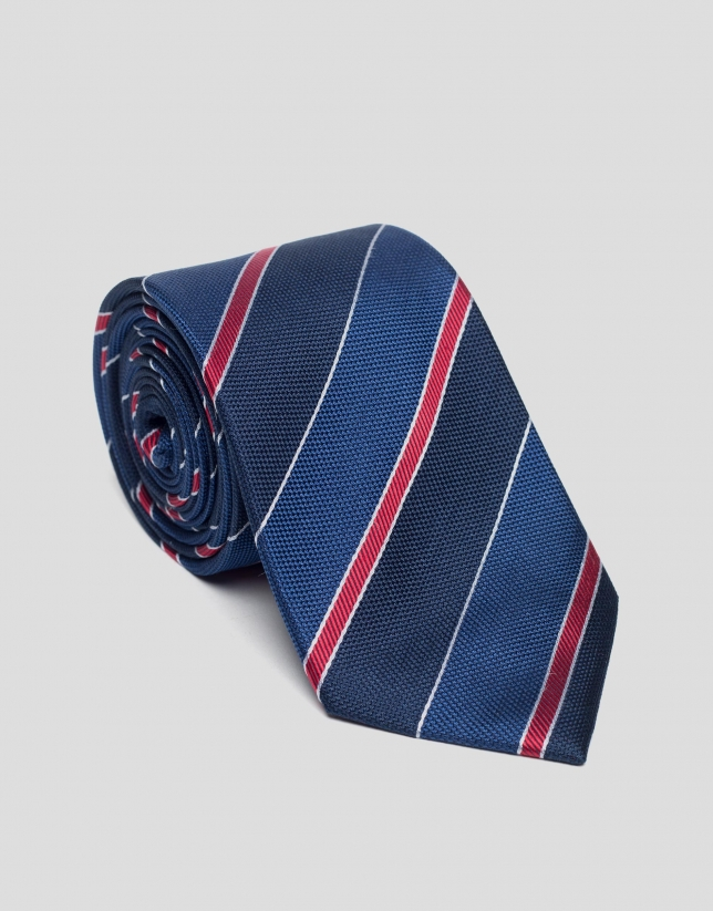 Navy blue, deep blue and red striped silk tie