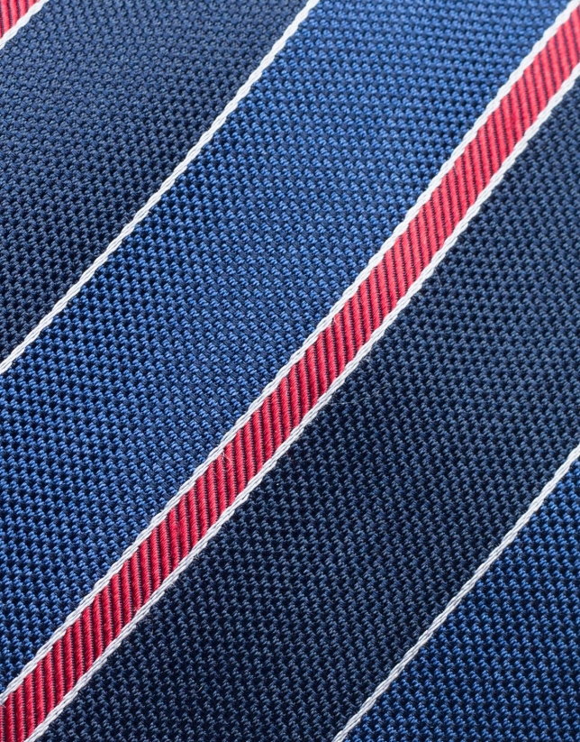 Corbata seda rayas marino, azulón y rojo