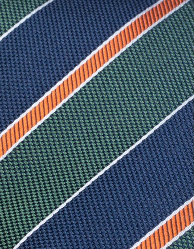 Green, navy blue and orange striped tie