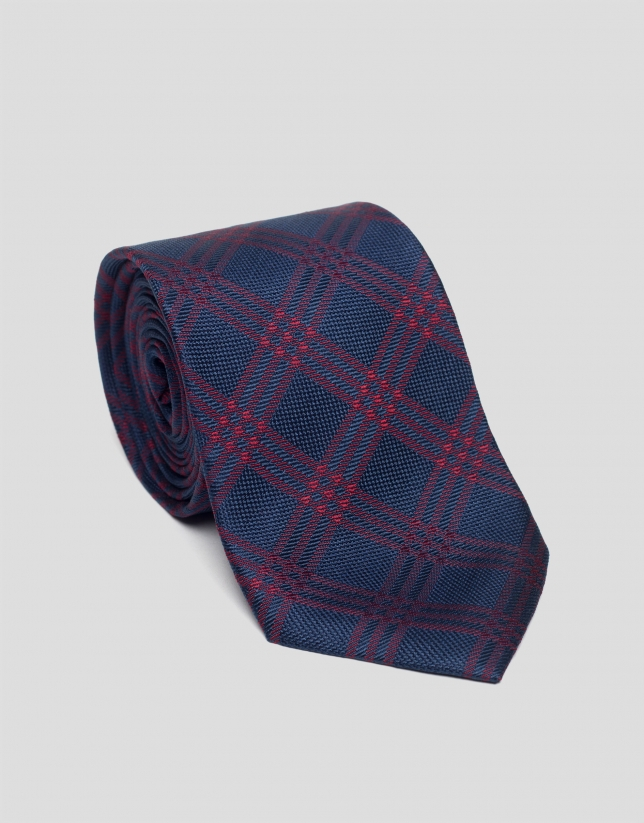 Navy blue and burgundy silk checked tie