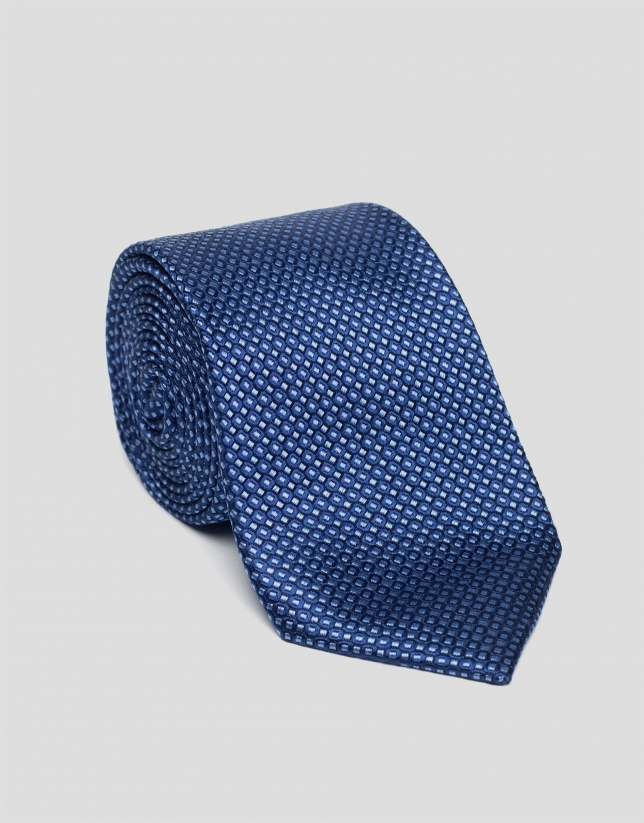 Blue silk and jacquard tie