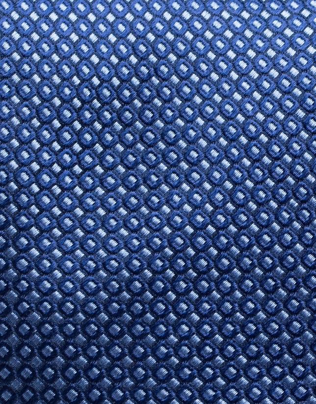 Blue silk and jacquard tie