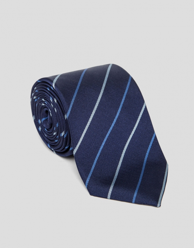 Blue silk tie with stripes
