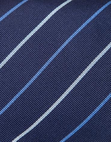 Blue silk tie with stripes