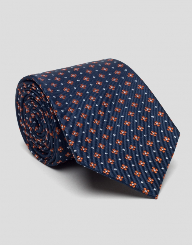 Blue tie with orange jacquard flowers