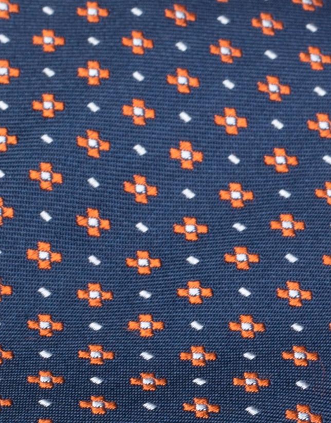 Corbata azul jacquard flores naranjas
