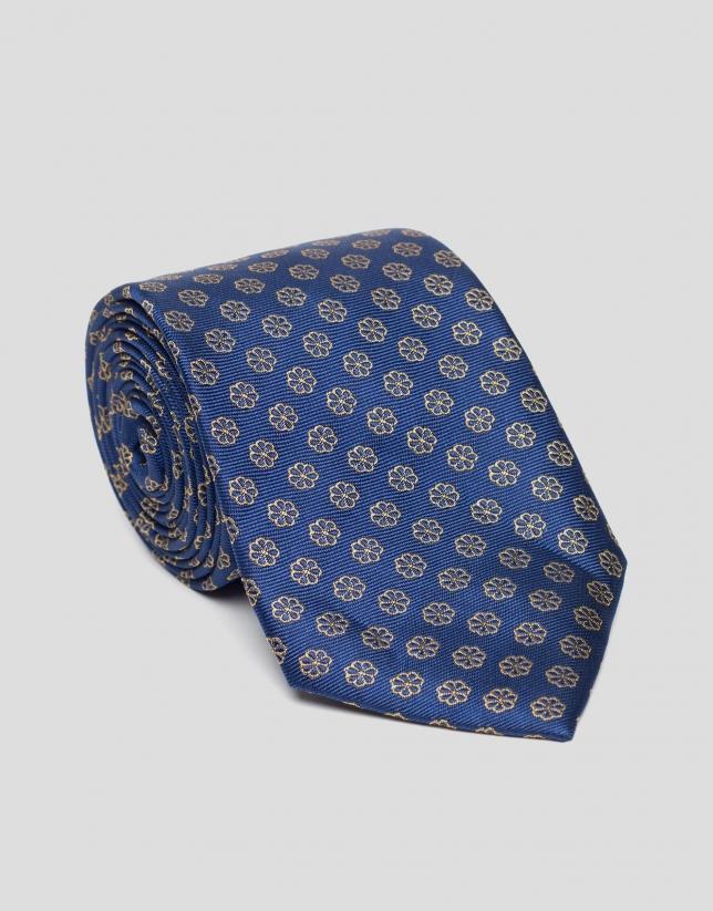 Corbata seda azul con flores amarillas