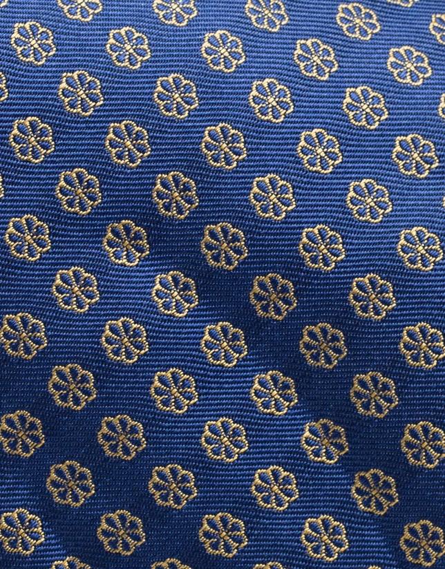 Cravate en soie bleue avec fleurs jaunes