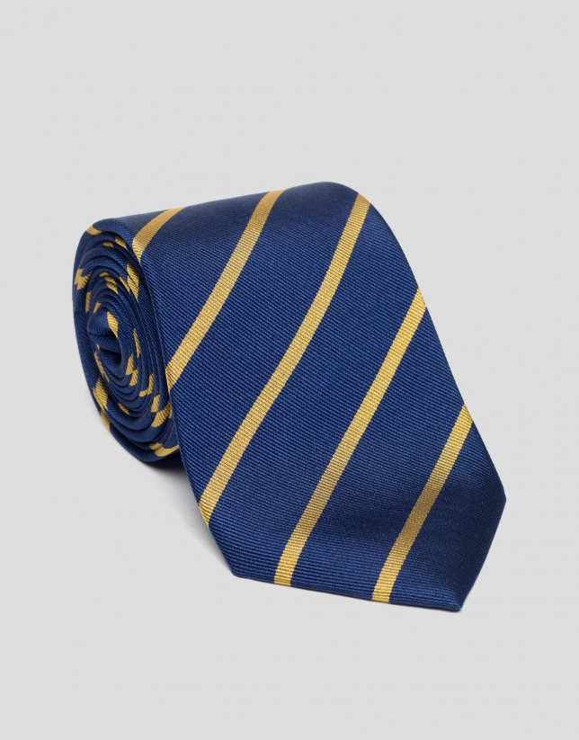 Blue silk tie with yellow stripes