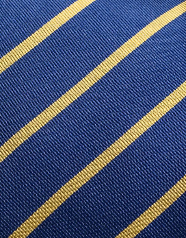 Cravate en soie bleue à rayures jaunes