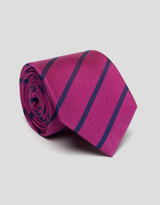 Cravate en soie fucsia à rayures bleues