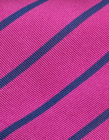Corbata seda fucsia con rayas azul