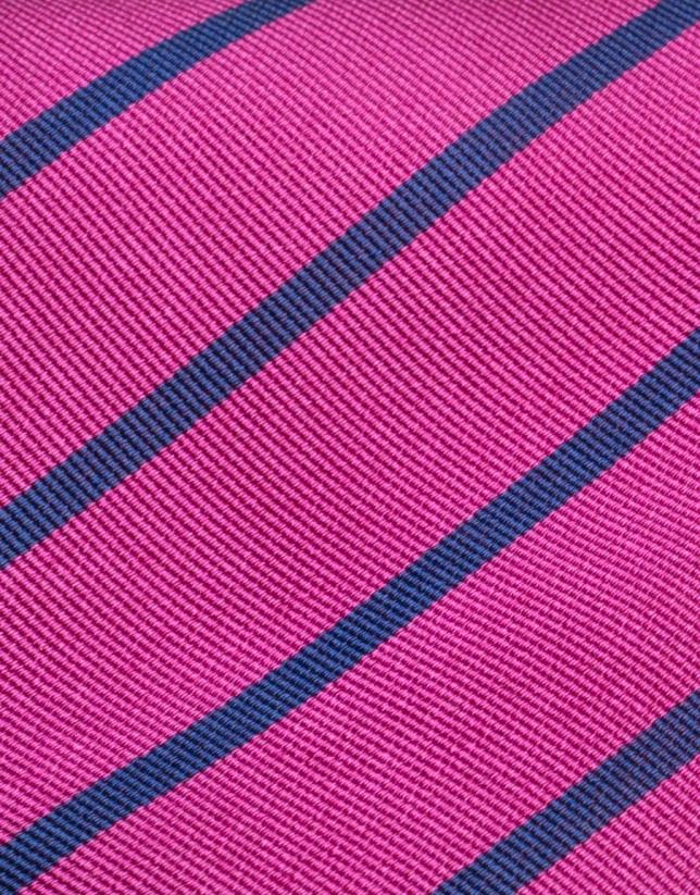 Fucsia silk tie with blue stripes