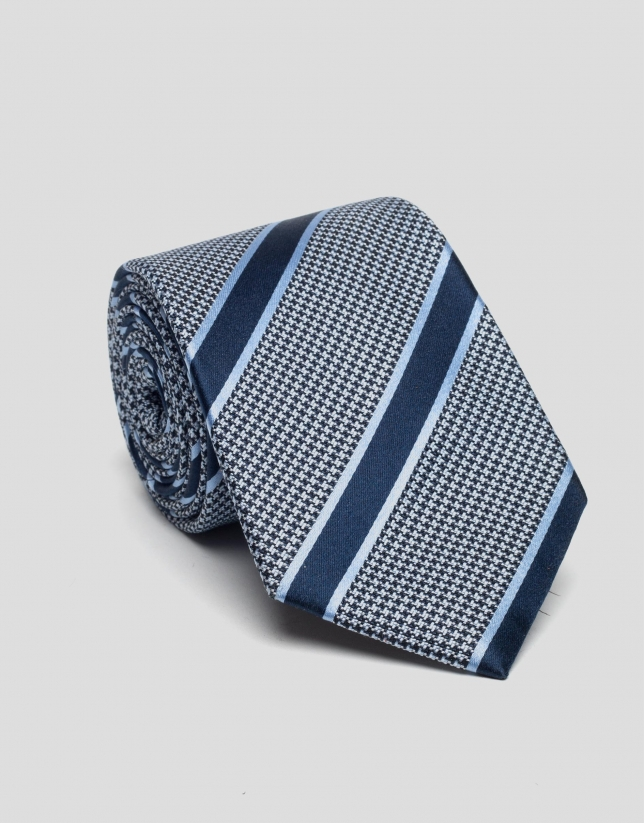 Blue houndstooth and striped silk tie