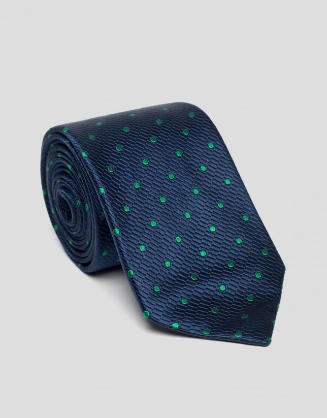 Corbata seda azul oscuro con lunares verdes