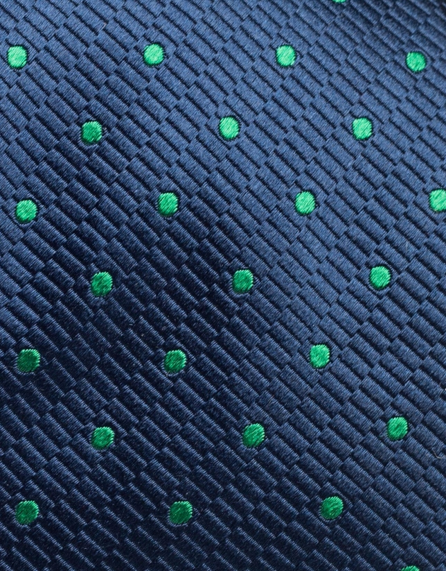 Dark blue silk tie with green polka dots