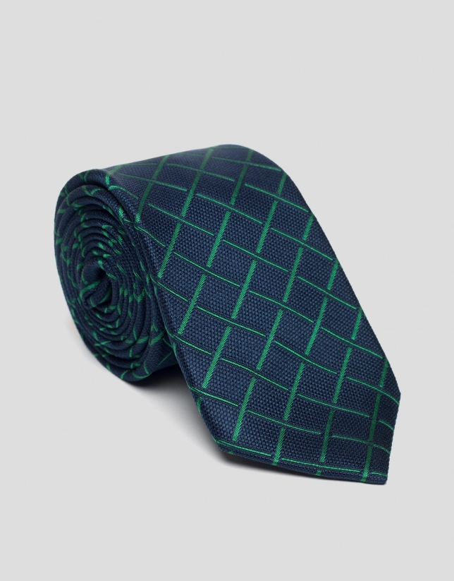 Blue silk tie with green checks