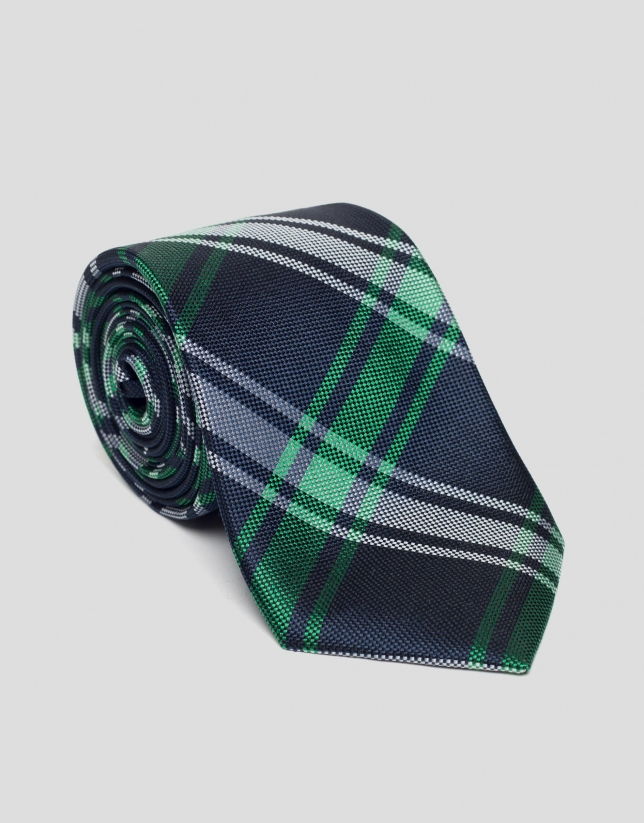 Blue and green checked tie