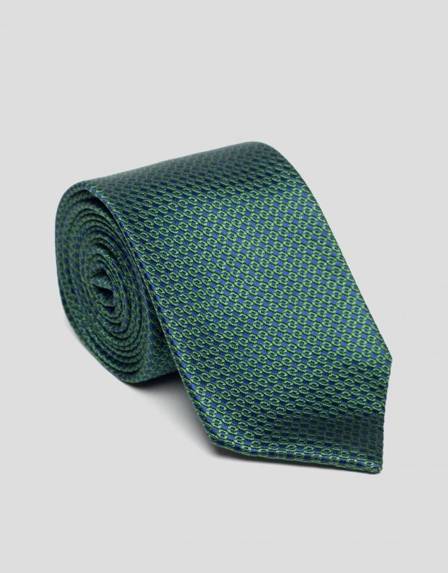 Cravate à jacquard vert/bleu marine