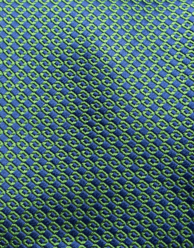 Green and navy blue jacquard tie