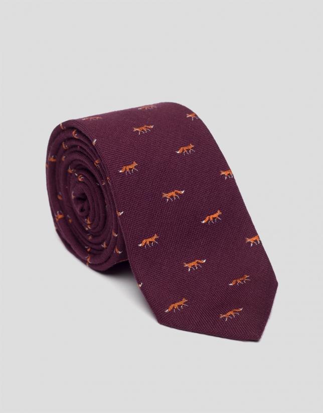 Burgundy wool tie with jacquard fox design