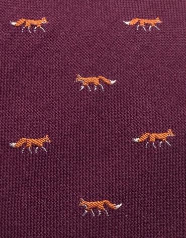 Cravate en laine grenat avec  jacquard de renards