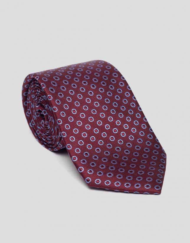 Burgundy silk tie with blue circles