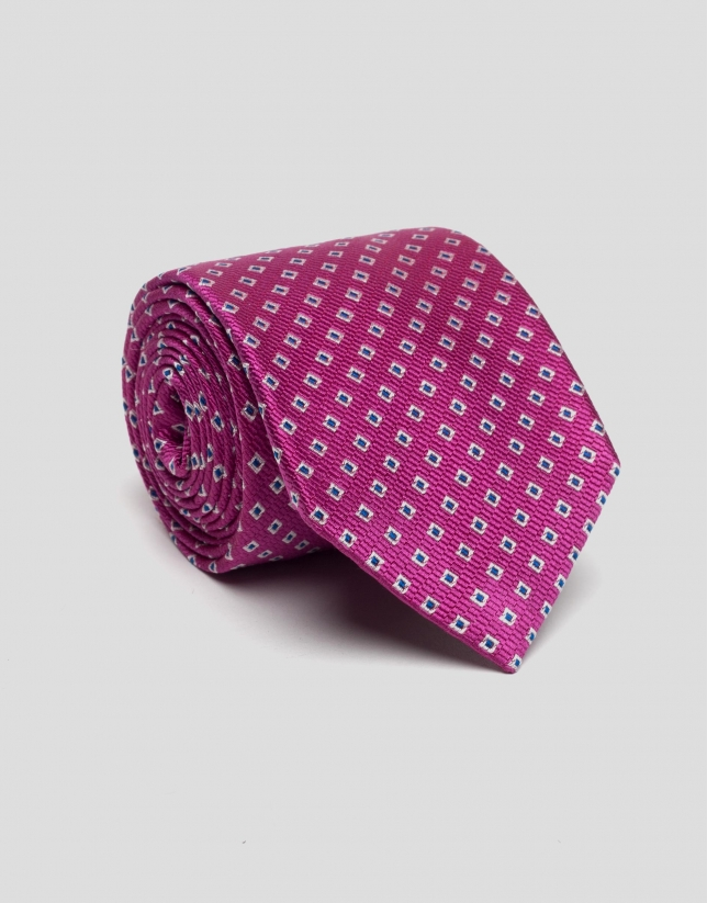 Fuchsia silk tie with blue and silver checked pattern
