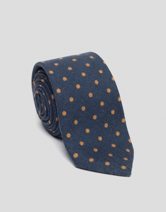 Blue wool tie with gold dots