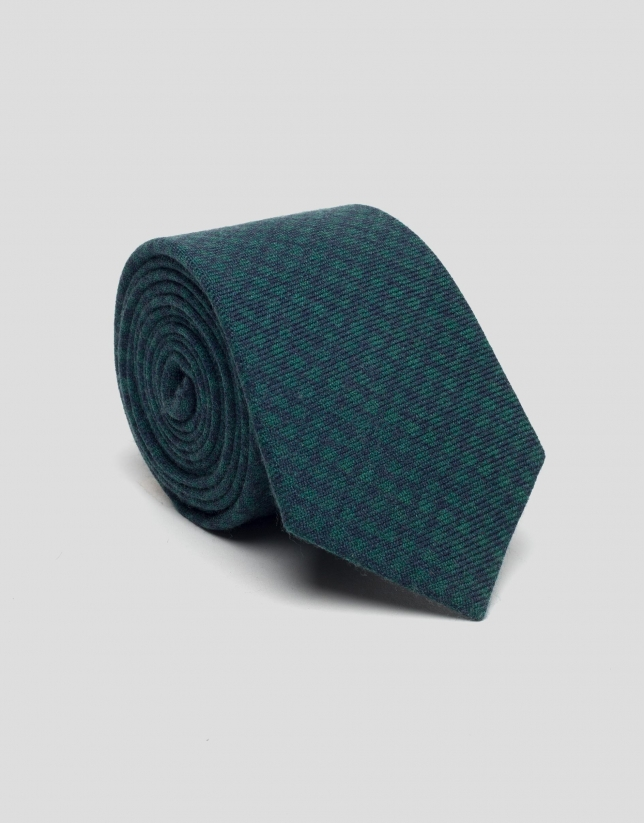 Navy blue and green diamond wool tie