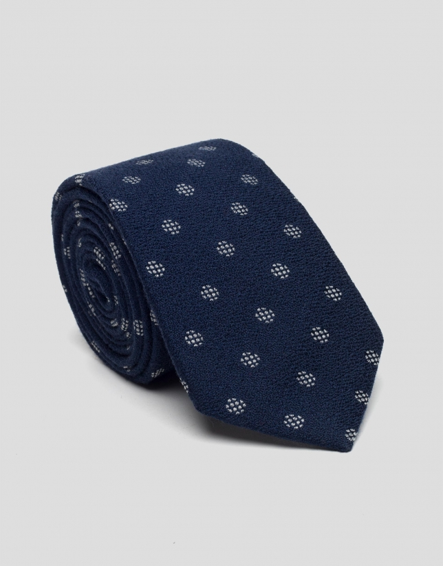 Blue wool tie with silver jacquard