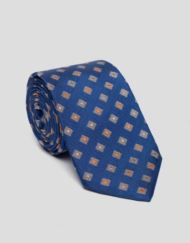 Corbata seda azulón jacquard naranja