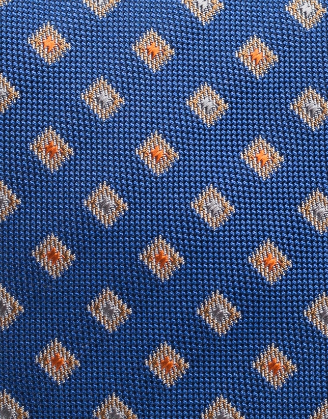 Blue silk tie with orange jacquard