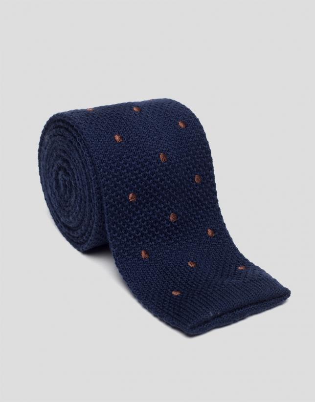 Corbata tricotada azul con lunares
