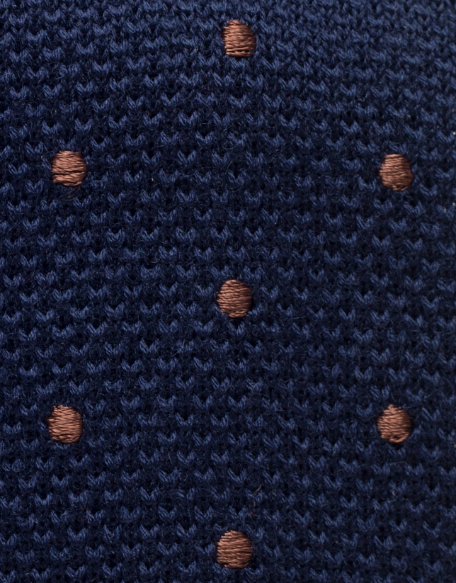 Blue knit tie with polka dots