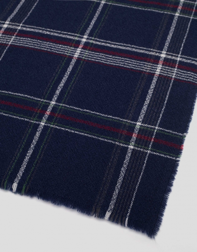 Blue and red checked wool scarf