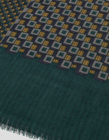Green and brown geometric print wool scarf