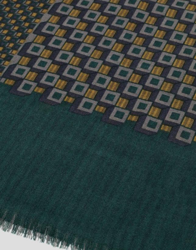 Echarpe en laine imprimée géométrique vert/ocre